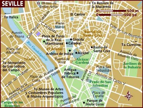 Sevilla mapa centro ciudad