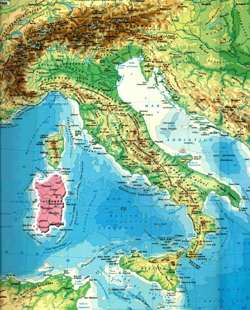 Mapa Italia Cerdena